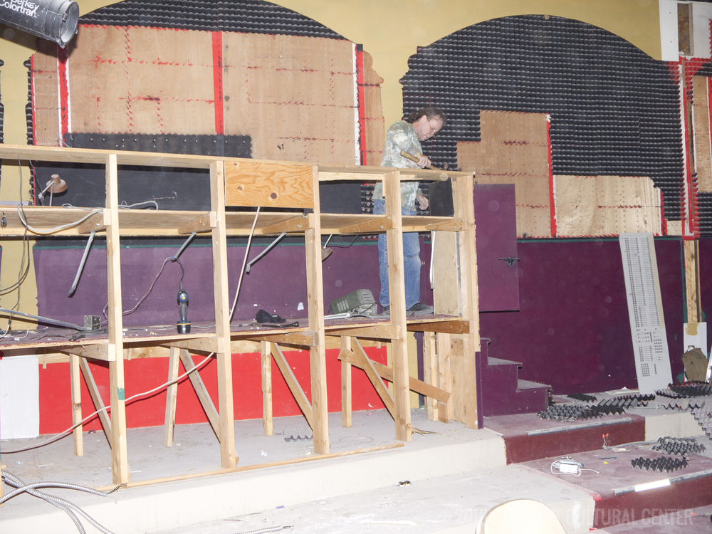 Demolition of former tech control booth.