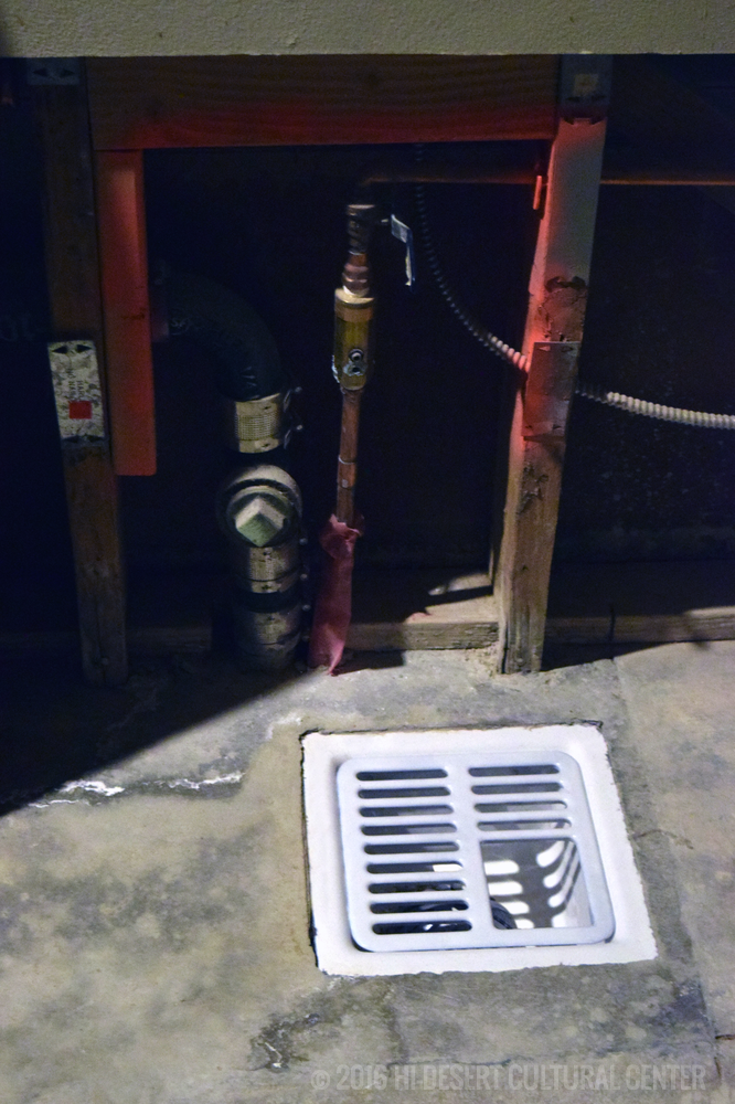 New plumbing and recessed drain for commercial ice machine.