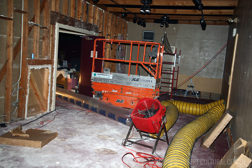 Following the devastating statewide disaster of 2007 where a deep freeze destroyed most of California's billion dollar citrus crop, the Cultural Center undergoes water remediation following four water pipes that burst in its fire suppression system.