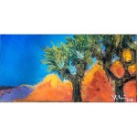Strong complimentary color palette, Joshua trees, deep blue sky, orange and violet hills.