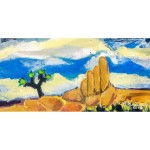 Landscape with Joshua tree, rock monument, clouds in blue sky
