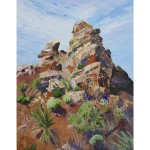 Oil painting of rocky pinnacle in JTNP in the early morning with wispy clouds in a blue sky.