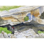 Watercolor painting with pen and ink. Cavern where river enters the mountain. Peter sitting on a rock at the entrance.
