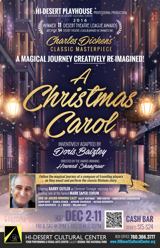 A Christmas Carol Poster.Playhouse To Open A Christmas Carol Starring Barry Cutler